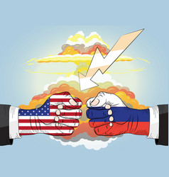 Russia vs usa nuclear explosion fists in impact vector