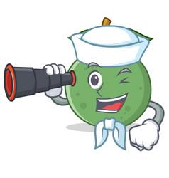 Sailor with binocular guava mascot cartoon style vector