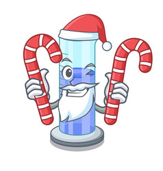 Santa with candy graduated cylinder on for cartoon vector