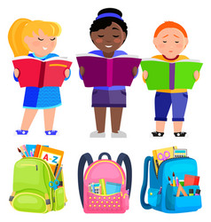 schoolkids stand and read books bags for school vector image