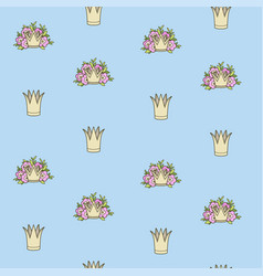 seamless pattern from tiaras various shapes vector image