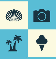 Season icons set collection of sorbet conch vector
