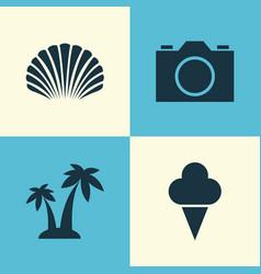 Season icons set collection sorbet conch vector