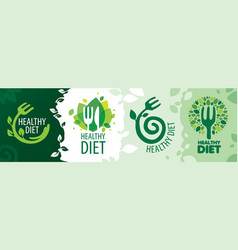 set icons on theme healthy food vector image