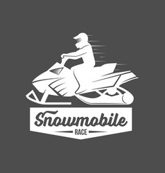 set of snowmobile dadges vector image