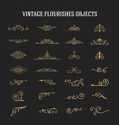 set vintage ornamental flourishes vector image
