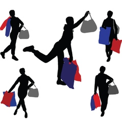 shopping girls 2 - vector image