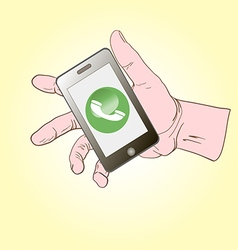 Smartphone lies on the palm and calls vector image