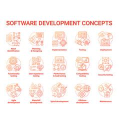 Software development concept icons set designing vector