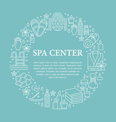 spa center banner with flat line vector image