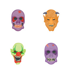 spooky creature flat icons vector image