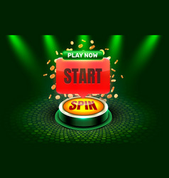 Start spin casino coin cash machine play now vector