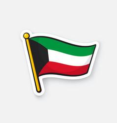 Sticker flag kuwait on flagstaff vector