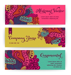 Stylish floral banners Bright doodle cartoon cards vector