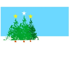 Three Christmas trees B vector image