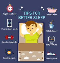 Tips for better sleep flat infographics vector