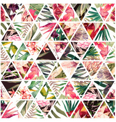 Tropical watercolor patchwork vector