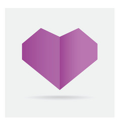Valentine love gay purple heart paper craft in vector