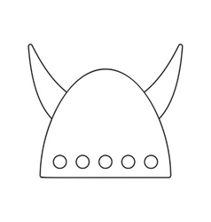 Viking helmet with big horns thin line icon vector image