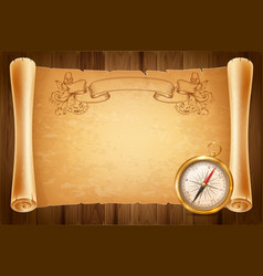 Vintage compass and antique scroll vector