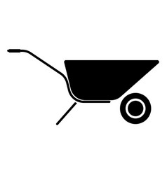 Wheelbarrow cart the black color icon vector