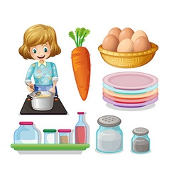 Woman cooking and other ingredients vector