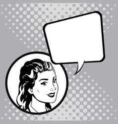 woman speak comic pop art vector image