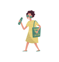 young woman in green clothes walking with bag with vector image