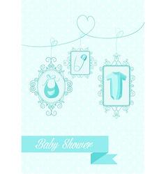 Baby shower boy hanging elements vector image vector image