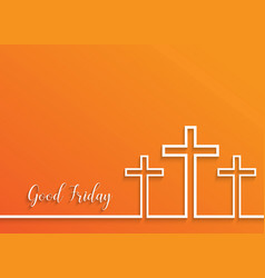 cross for good friday on orange background vector image