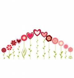 hearts and flowers vector image vector image