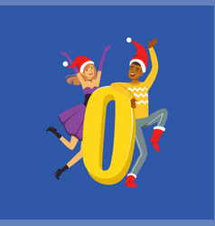 number zero and happy people in red santa hats vector image