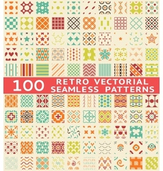 Retro different seamless patterns with swatch vector image