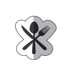 sticker silhouette cutlery icon vector image vector image