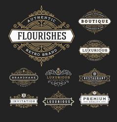 vintage flourishes frame banner label vector image