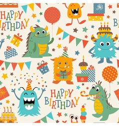 Birthday monsters pattern vector image