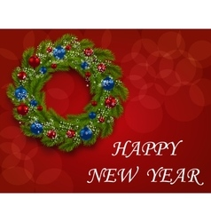 Christmas wreath on a postcard Green branch of vector image vector image