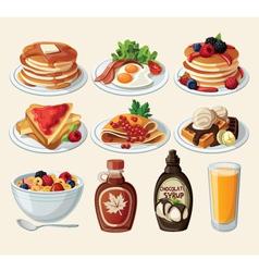 Classic breakfast cartoon set vector image vector image