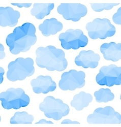 Polygonal seamless pattern with clouds vector image