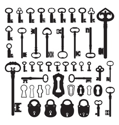 Silhouettes of old keys vector image