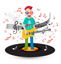 crazy singer and bass guitar player on vinyl vector image vector image