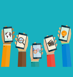 flat design concept mobile apps phones in hands vector image