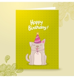 Happy birthday postcard template with a dog vector