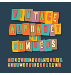 Vintage alphabet and numbers collage paper design vector image