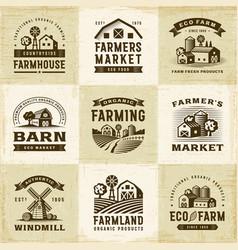 Vintage organic farming labels set vector