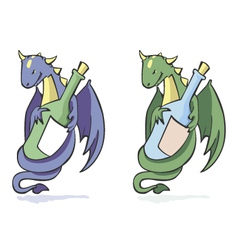 dragon and bottle vector image vector image