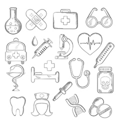 Medical and healthcare icons sketches vector image vector image