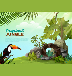 tropical jungle toucan garden composition poster vector image vector image