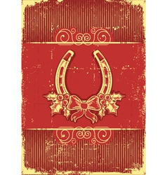 Vintage horseshoe on red christmas background with vector image vector image