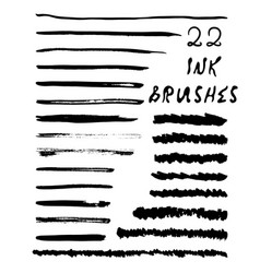22 texture ink brushes vector